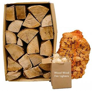 Kiln Dried 20kg Hardwood Logs, 4kg Kindling + 50 Eco Firelighters Starter Bundle. Firewood Pizza Ovens, Chiminea, BBQ Wood Burner
