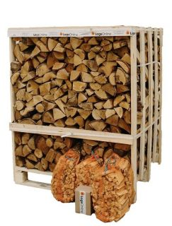 Jumbo Crate Kiln Dried Birch Hardwood Logs 3 X 3KG Kindling 50LogLites